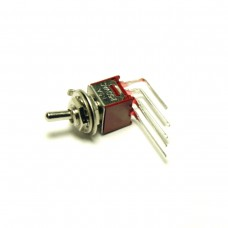 Mini Toggle Switch DPDT. Short shaft, L-lugs. Threaded version.