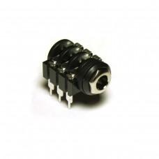 TRS stereo 1/4 Jack (Metal Nut, Long PCB Lugs)